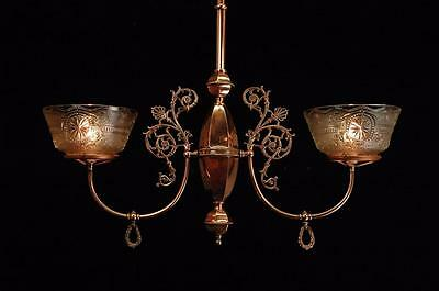 Victorian Circa 1885 Antique Restored Polished Copper Original Gas Chandelier