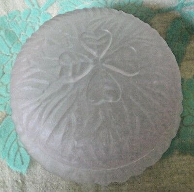 Vintage Light Pink POWDER BOX 4 leaf clover on Lid shimmers