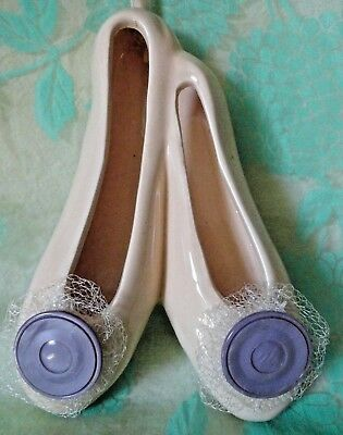 Vintage hanging ceramic BALLET Shoes Slippers Purple buttons