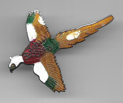 Vintage Colorful White Head Pheasant in Flight  old cloisonne pin