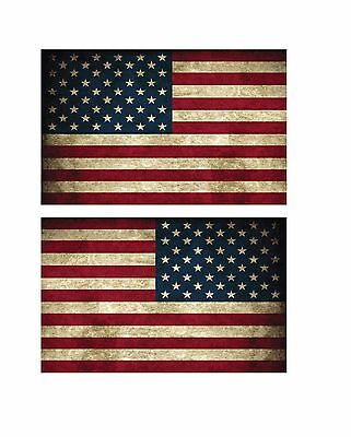 "(1 pair) Small  5"" USA American Flag Vintage Style Right and Left Decal Sticker"