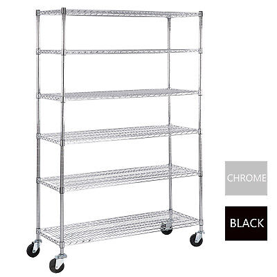 "6 Tier Wire Shelving Rack 82""x46""x18"" Heavy Duty Layer Steel Shelf Adjustable"