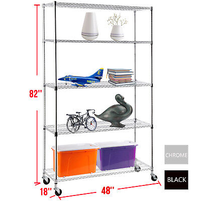 "82""x46""x18"" Heavy Duty 5 Tier Wire Shelving Rack Chrome Steel Shelf Adjustable"