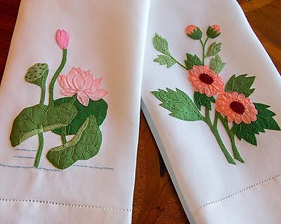 Pair Vintage Applique Hand Towels w/ Applique Water Lily and Flowers