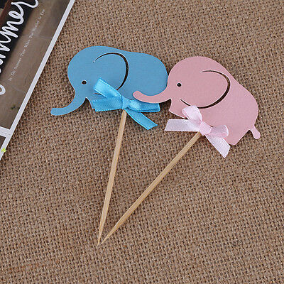 10x Elephant Cupcake Cake Topper Picks Baby Shower Birtyday Paper Card Blue glf