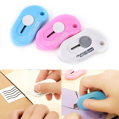 1x Mini Pocket Utility Knife Box Paper Cutter Retractable Razor Blade Stationery