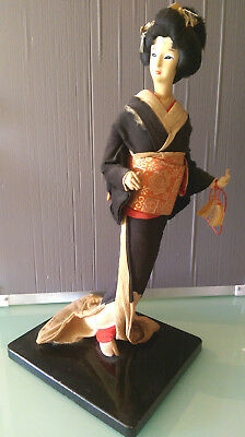 Vintage Japanese Nishi Geisha Doll Figurine On Stand: 1950's