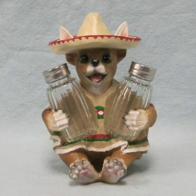 Chihuahua Figurine Statue with Poncho Salt and Pepper Shaker Holder