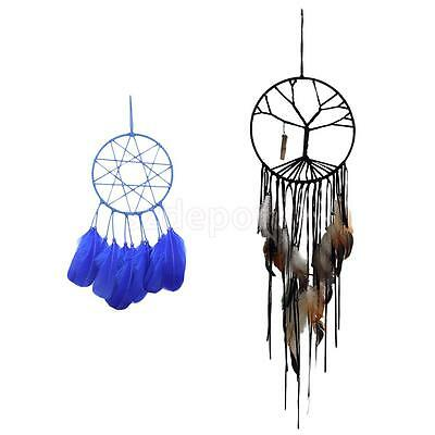 2 Pcs Indian Style Handmade Tree of Life Dream Catcher with Blue Wind Chimes