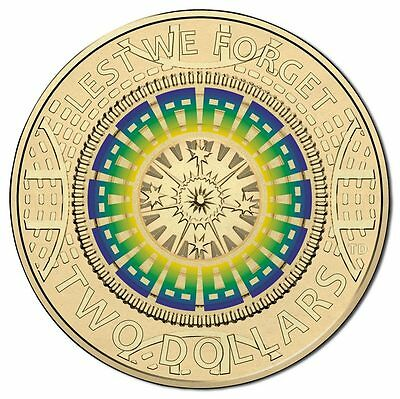 $2 two dollar coin 2017 - ANZAC Remembrance BLUE GREEN YELLOW Lest We Forget UNC