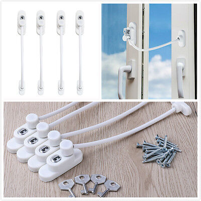 4pcs Kid Safety Window Restrictor Lock Child Proofing Security Chain Wire Cable