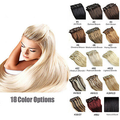 "16-20"" 15Colors Clip In Human Hair 100% Real Clip In Remy Human Hair Extensions"