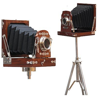 Antique Decorative Folding tripod Photography Vintage wood Camera Decor Replica