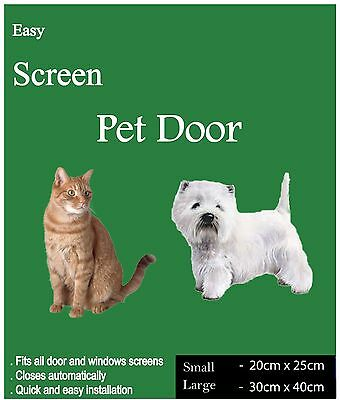 Easy Screen Pet Door - 250x200mm - For both Cats & Dogs! - Doors or Windows