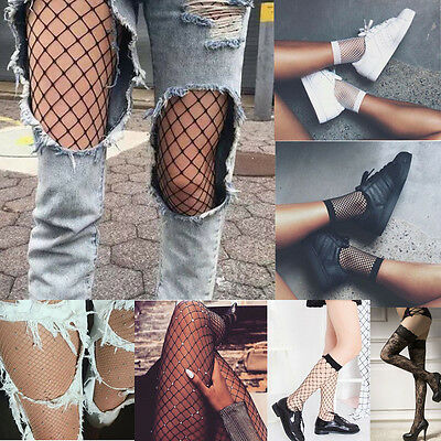 Women Crystal Rhinestone Fishnet Big Fish Net Tights Pantyhose Elastic Stockings