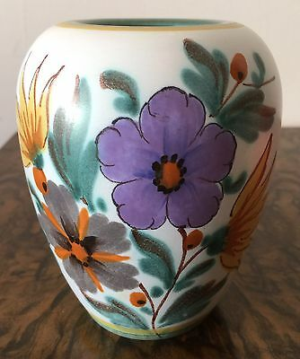 1490 Flora Gouda Holland Hand Painted Vase V Good Condition