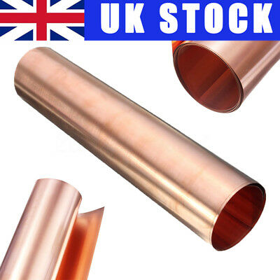 UK 1Pc 99.9% Pure Copper Metal Sheet Plate Foil Roll Tape 0.2mm x 100mm x 1000mm
