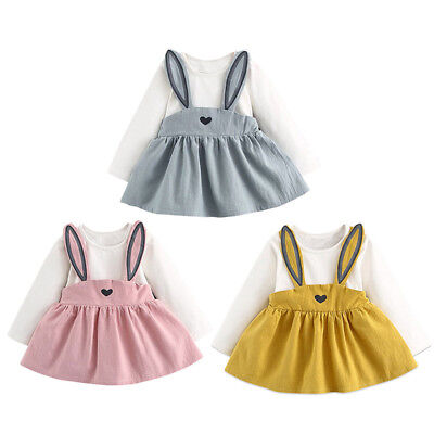 Toddler Kid Baby Girl Long Sleeve Tops Dress Bunny Ears Autumn Outfits Clothes