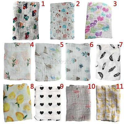AU Infant Baby Toddler Cotton Sleeping Blanket Muslin Swaddle Wrap Bath Towel