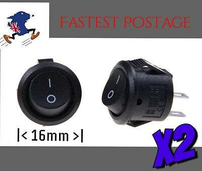 16mm Rocker Switch x 2 pcs On Off Button 2 pin 5/8 inch ' ""