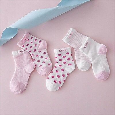 5 Pairs Baby Boy Girl Socks Set Breathable Cotton Cartoon Candy Colors Dot Kids
