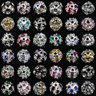 50-100PCS Metal Czech Crystal Rhinestone Spacer Beads Necklace Jewelry Craft 6mm