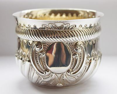 Victorian Antique Solid Silver And Gilded Bowl London 1888