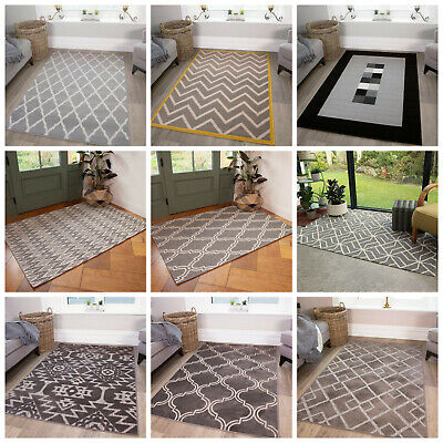 Trendy Grey Charcoal Soft Bedroom Living Dining Room Shaggy Rug Trellis Non Shed
