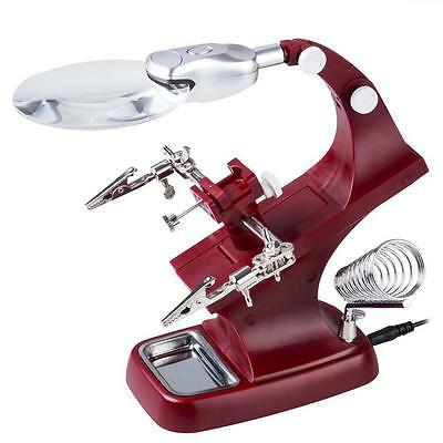 Helping Hand Magnifying Soldering LED Light Iron Stand Lens Magnifier Glass #C