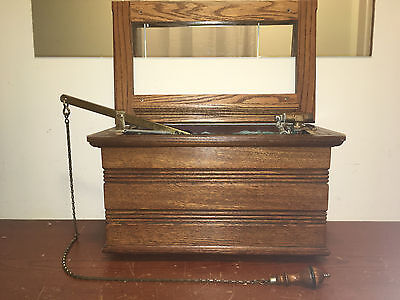 Antique High Tank Oak & Copper Lined Toilet Tank With Wood Pull Chain & Works!!!
