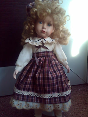 Beautiful Vintage German Porcelain Bisque Doll Big Size On Stand 43Cm. Rare
