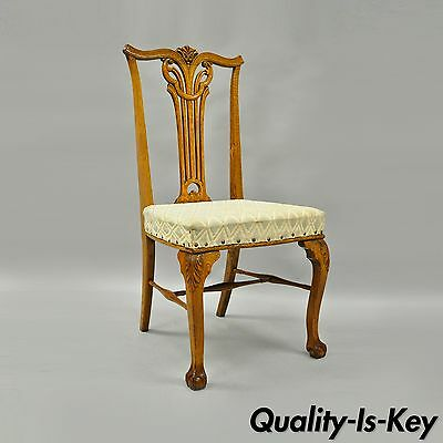 Antique Victorian Tiger Golden Oak Wood Chippendale Style Dining Side Desk Chair