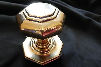 Large Antique Brass Entrance Door Center Knob Pull (Victorian)