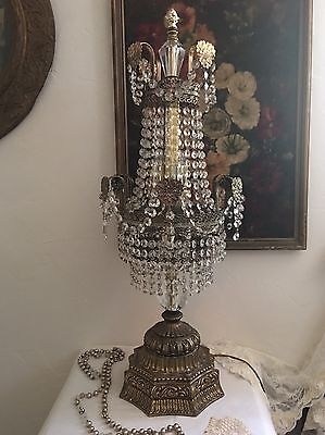Rare! Large Vtg Antique Romantic TableTop Crystal Swag Chandelier Lamp ~Best!~