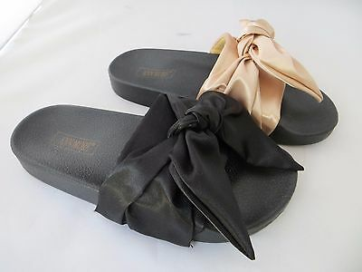New BILBAO Women's Satin Bandana Pool Slide Sandals Bow detail  by ANN MORE