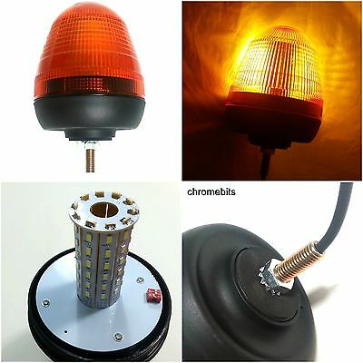 12V / 24V Single 1 Bolt Point Mount Led Flashing Amber Orange Warning Beacon