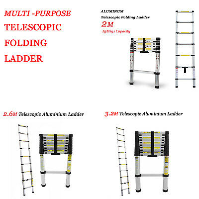 2M 2.6M 3.2M Telescopic Ladder Alum. Alloy Extension Extendable Steps Portable