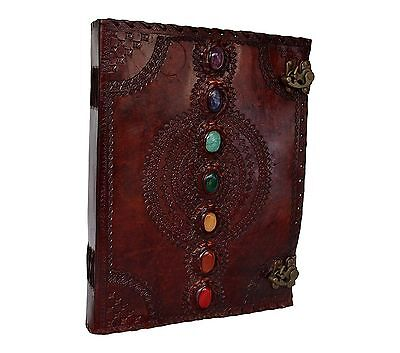 Handmade Book of Shadows Leather Journal Seven Stone Medieval Notebook 13x10