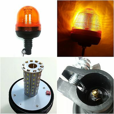 Caution Warning Amber Led Beacon Flexible DIN Pole Vehicle Truck Snow Plow