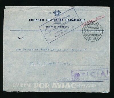 Mocambique Official Military Command Printed Envelope 1954 Airmail