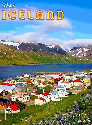 Visit Iceland Scenic Travel Advertisement Art Poster - 10 x 13.5 inches