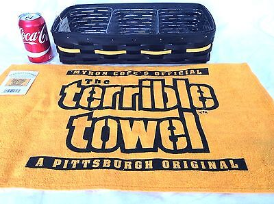Pittsburgh STEELERS Lend a Hand Basket 3 Protectors + Terrible Towel Longaberger