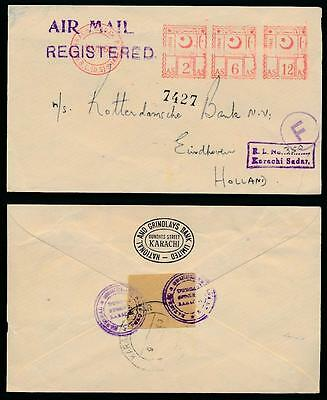 PAKISTAN REGISTERED METER FRANKING AIRMAIL to HOLLAND BOXED KARACHI SADAR 1960