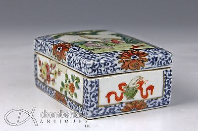 Antique Chinese Porcelain Covered Box With Scene Of Figures