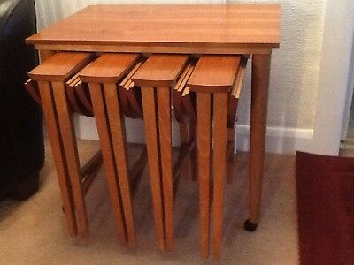 Vintage Retro 1960'S Teak Trolly With Nest Of 4 Tables.Poul Hundevad Design.