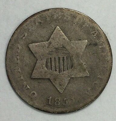 1851 3CS Three Cent Silver-G