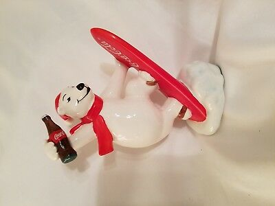 NEW Coca Cola Polar Bear Snow Boarding Ceramic Figurine Always Snow Boarding