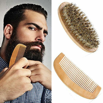 Men's Wooden Beard Brush & Soft Comb set Fathers Grandad Christmas Gift Dad