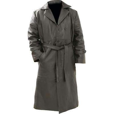 Mens Black Solid Buffalo Leather Full Length TRENCH COAT Jacket with Belt