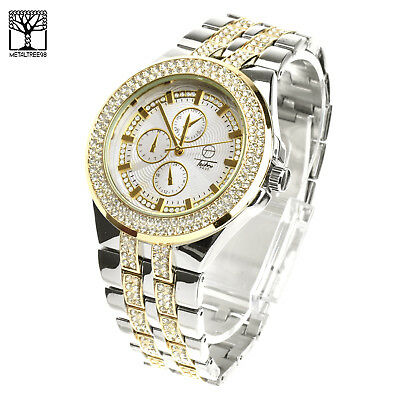 Men's Luxury Silver Plated Metal Band Bling Iced Out Hip Hop Watches WM 8324 TT